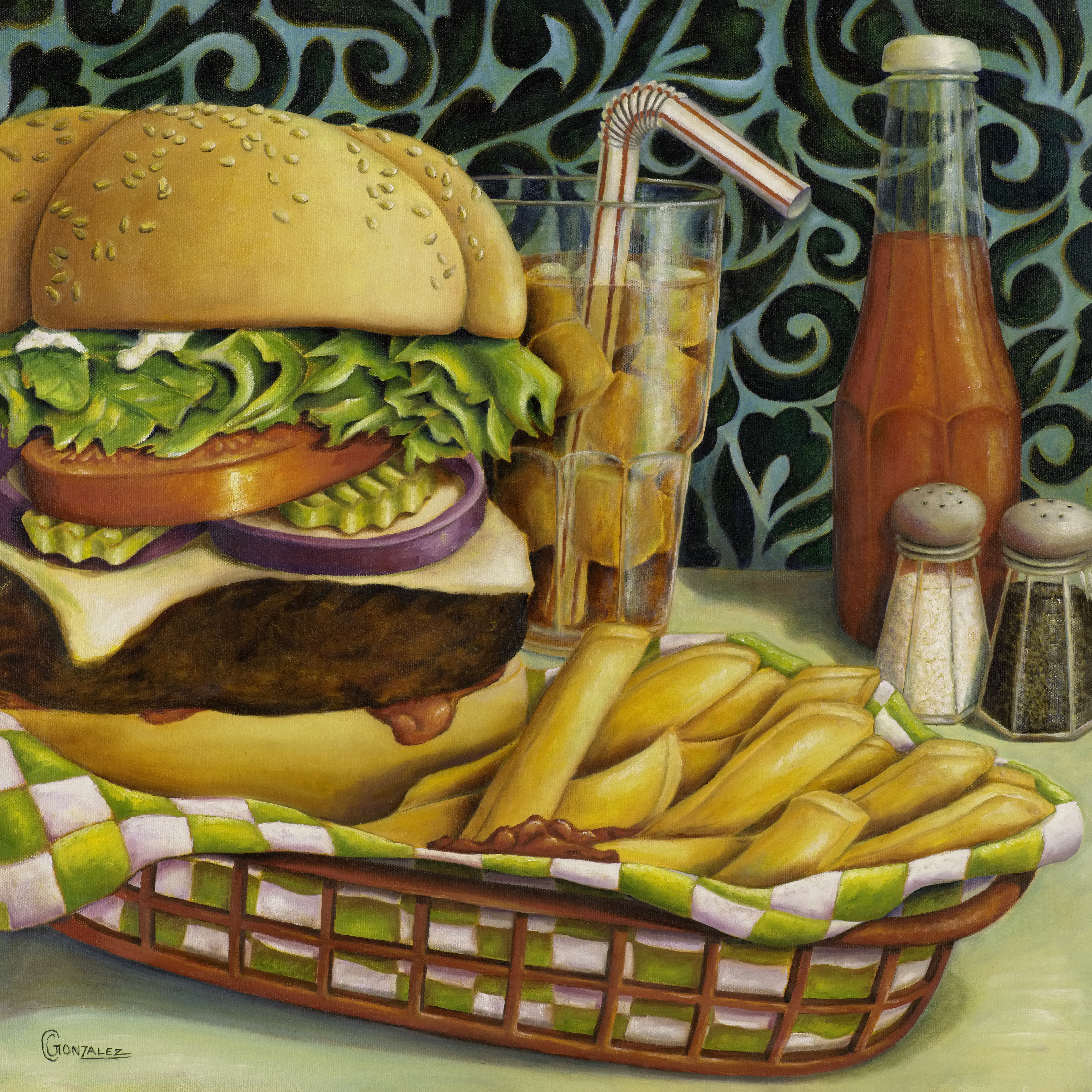Carmen Gonzalez: 'diner dinner', 2017 Oil Painting, Food. Most people are obsessed with good food and get so excited when they discover an amazing dinner or restaurant.  Eating in restaurants is very difficult for me.  I have IBS so I am not able to eat so many things.  This may be one of the reasons why I paint ...