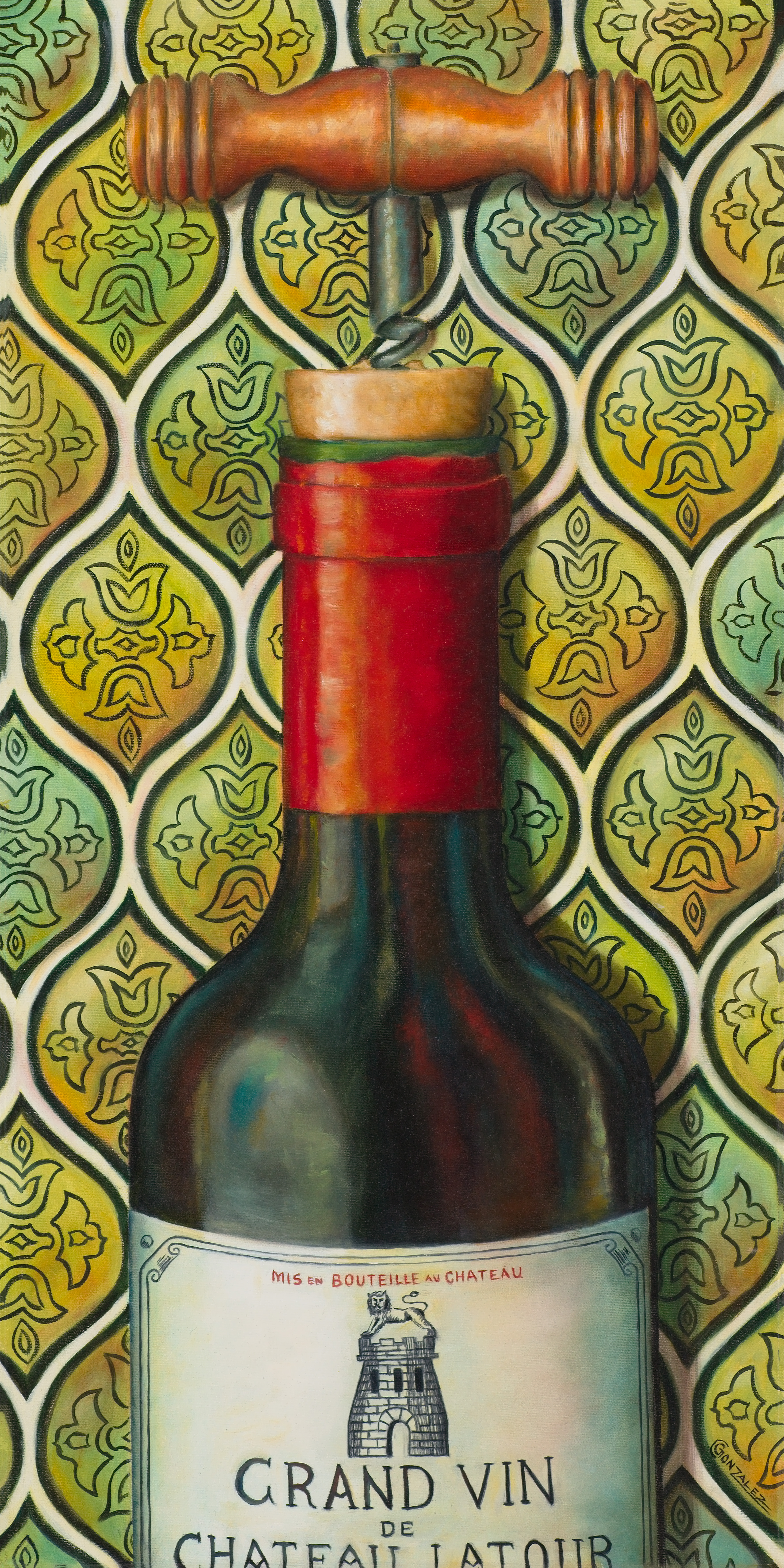 Carmen Gonzalez: 'grand vin', 2017 Oil Painting, Cuisine. I love painting bottles due to the reflective lights and colours on the glass.  I selected this bottle to paint because the label has a vintage look to it.  I personally do not drink wine, however, wine bottles remind me of special events and fellowship with love ones.  I adding ...
