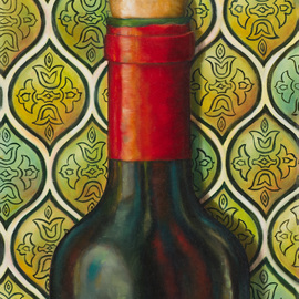 Carmen Gonzalez: 'grand vin', 2017 Oil Painting, Cuisine. Artist Description: I love painting bottles due to the reflective lights and colours on the glass.  I selected this bottle to paint because the label has a vintage look to it.  I personally do not drink wine, however, wine bottles remind me of special events and fellowship with love ones.  ...