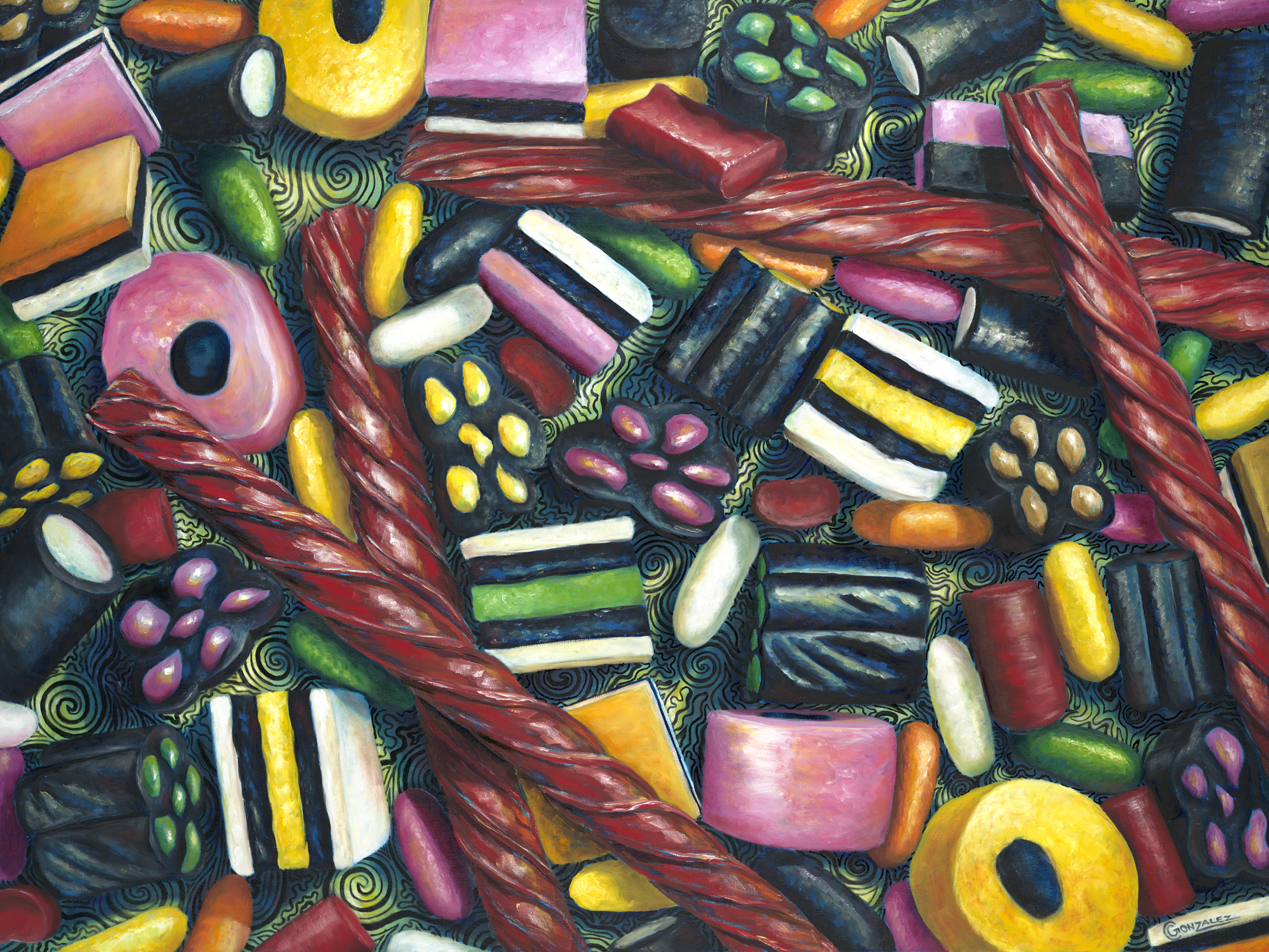 Carmen Gonzalez: 'licorice lovers', 2013 Oil Painting, Food. Painting done in oil on canvasPainted with oil on canvas.  My candies series paintings were inspired by childhood memories.  Every time I see certain candies, I am reminded of times as a child.  Candy has a way of luring us in with its bright colours, fun shapes, and addicting ...