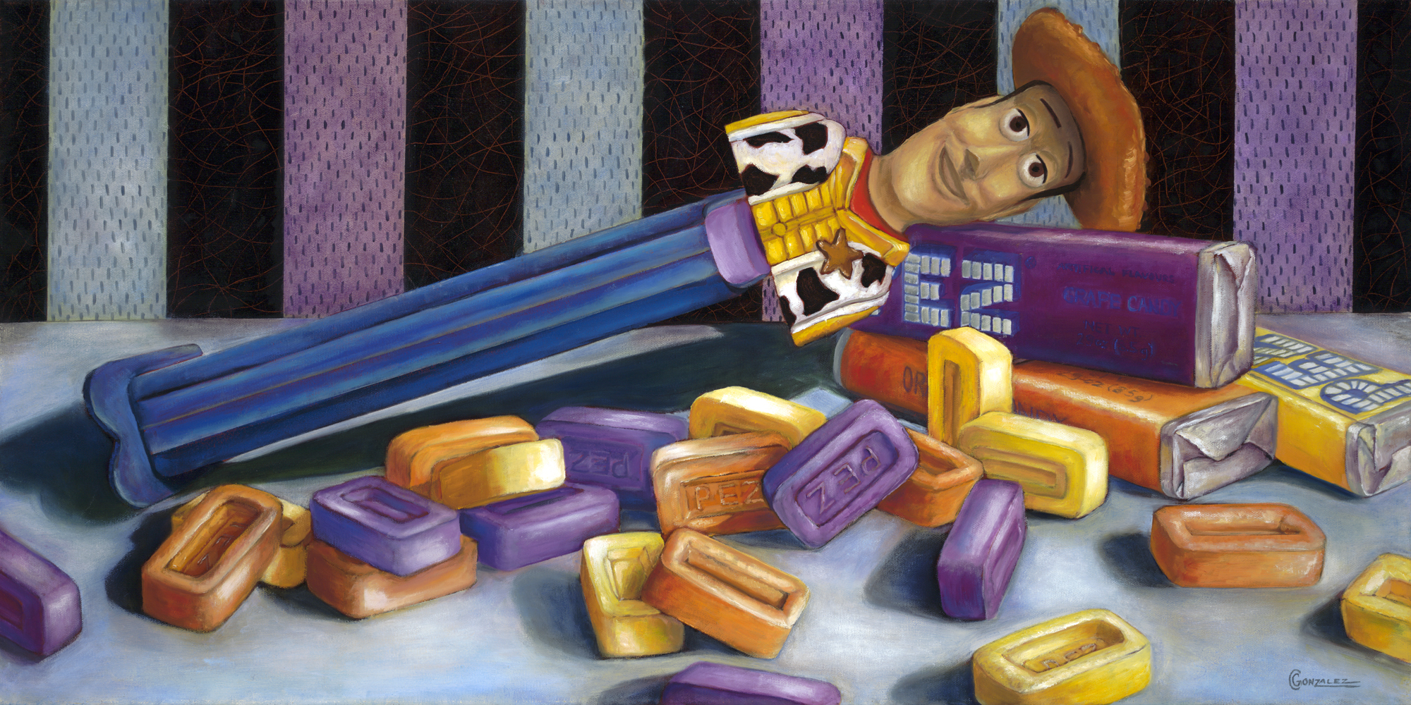Carmen Gonzalez: 'pez woody', 2013 Oil Painting, Food. Painted with oil on canvas.  My candies series paintings were inspired by childhood memories.  Every time I see certain candies, I am reminded of times as a child.  Candy has a way of luring us in with its bright colours, fun shapes, and addicting flavours.  It brings out the child ...
