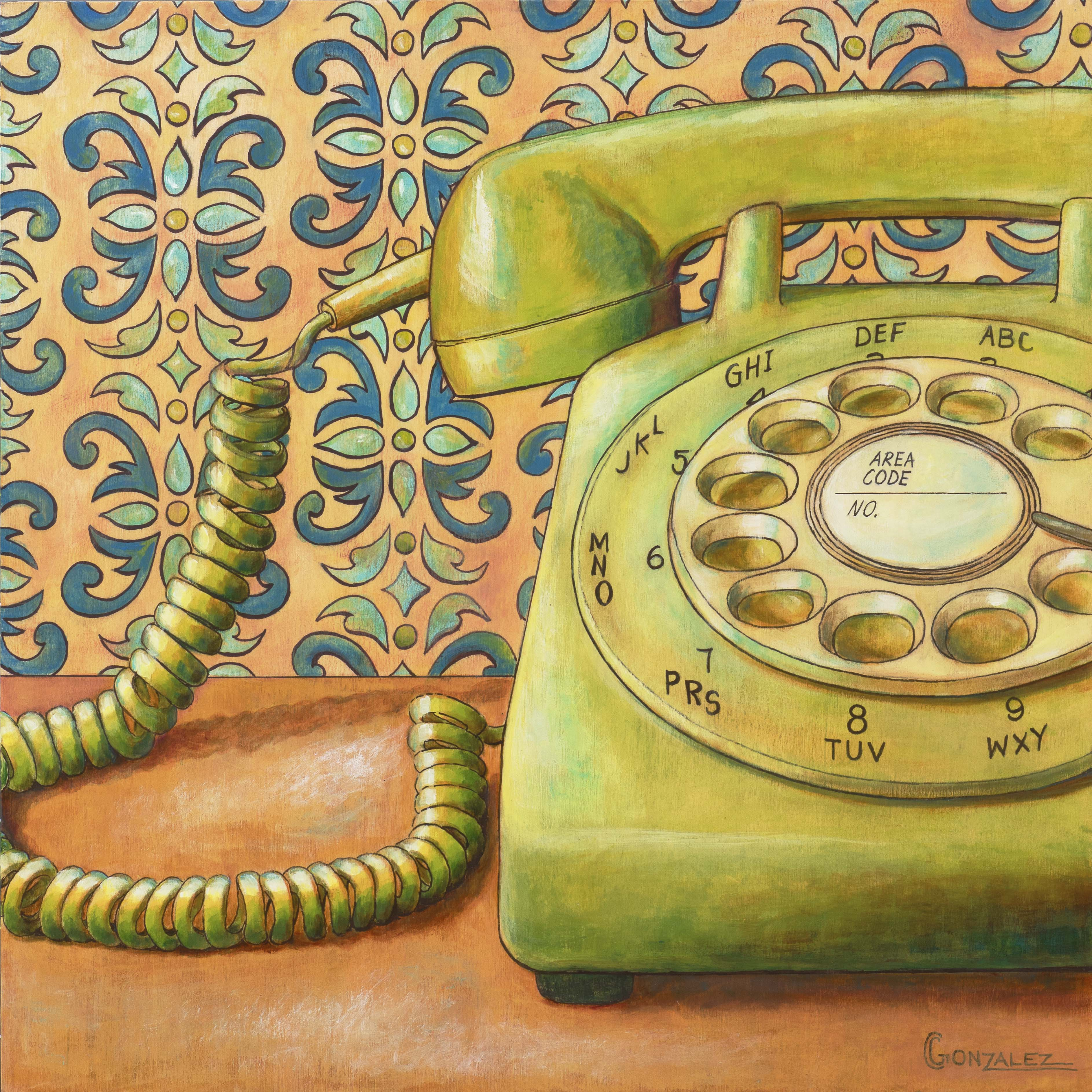 Carmen Gonzalez: 'rotary dialing', 2018 Acrylic Painting, Vintage. Painted in acrylic on birch wood panel.Objects trigger significant emotions or memories for each of us.  I love exploring the inner significance of objects from one person to another.  I am lured to objects that are nostalgic.  Vintage items are one of my favorite subject matters to paint.  For ...