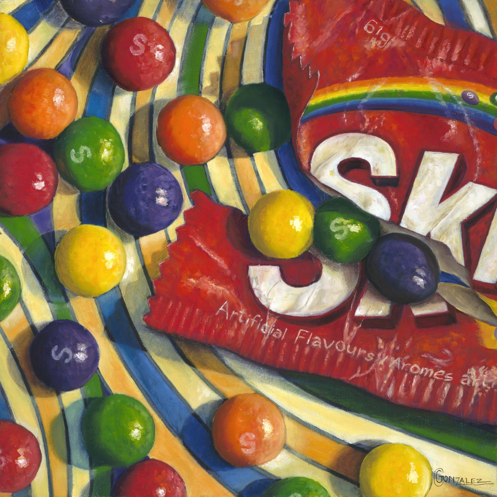 Carmen Gonzalez: 'skittles snack', 2012 Oil Painting, Food. Painted with oil on canvas.  My candies series paintings were inspired by childhood memories.  Every time I see certain candies, I am reminded of times as a child.  Candy has a way of luring us in with its bright colors, fun shapes, and addicting flavors.  It brings out the child ...
