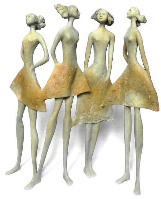 Artist Carolina Rodriguez. 'Cuatro Amigas' Artwork Image, Created in 2013, Original Sculpture Bronze. #art #artist
