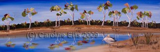 Caroline Ellis: 'Sunny Days Murray River', 2009 Oil Painting, Birds.  Part of the Pelicans in bold blue series.  Stark white Pelican and gum trees against blue sky and water.  Stylized works breaking away from the traditional treatment of the Murray River Environment. ...