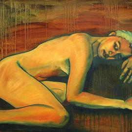 Caroline Macdonald: 'Cave Girl', 2004 Oil Painting, Nudes.