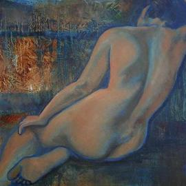 Caroline Macdonald: 'Firelight', 2005 Oil Painting, Nudes.