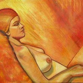 Caroline Macdonald: 'Sunbathing', 2004 Oil Painting, Nudes.