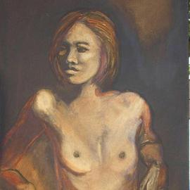 Caroline Macdonald: 'candle light nude', 2004 Oil Painting, Nudes.