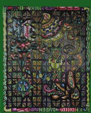 Pentagram Carolingiantoad: 'THE MAN AND CAROLINGIAN TOAD', 1997 Tempera Painting, Christian. Artist Description: modern carolingian art.original painting CONTACT ARTIST.photos and scketches are still exists.PAYMENT METHORD: PAY PAL...