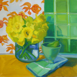 Carol Steinberg: 'Daffodils and Goldfish', 2010 Oil Painting, Floral. Artist Description:   flowers floral yellow still life daffodils goldfish  ...