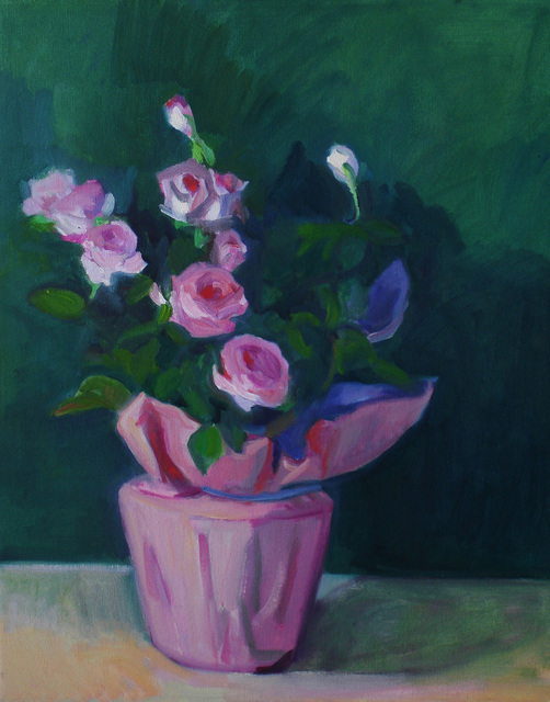 Carol Steinberg  'Mini Pink Roses In Pink Wrapper', created in 2010, Original Painting Oil.