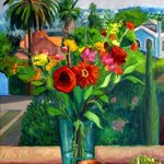 Red Bouquet with Jug By Carol Steinberg