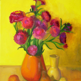 Carol Steinberg: 'Straw Flowers Yellow', 2010 Oil Painting, Floral. Artist Description:  flowers floral yellow still ...