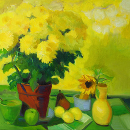 Carol Steinberg: 'Yellow Mums on Yellow', 2010 Oil Painting, Floral. Artist Description:     flowers floral yellow still chrysanthemums mumsbright cheerful ...