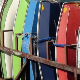 Carolyn Bistline: 'ROWBOATS FOR RENT', 2013 Color Photograph, Boating. Artist Description:  COME TO THE FAR AWAY TROPICAL ISLANDS, AND RENT A COLORFUL ROWBOAT TO EXPLORE.        ...
