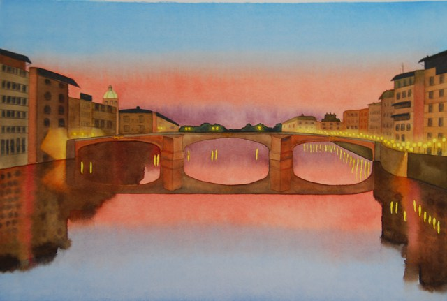 Carolyn Judge  'Ponte Vecchio Bridge, Florence', created in 2010, Original Watercolor.