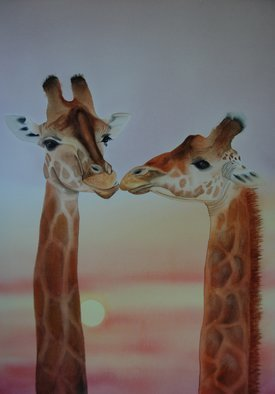 Carolyn Judge Artwork Necking Giraffes, 2015 Watercolor, Animals