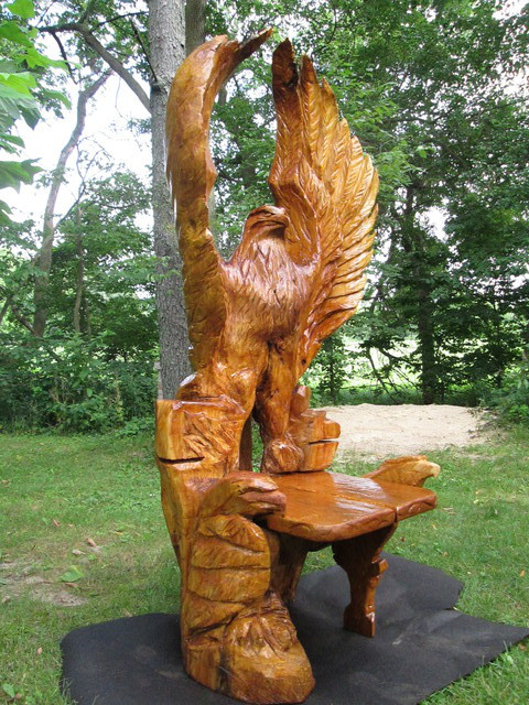 Von Nicholson: Eagle chair, 2016 Wood Sculpture