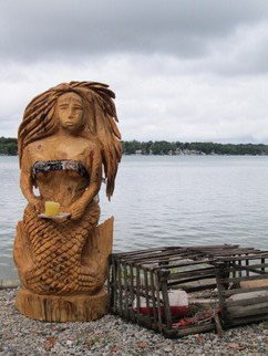 Von Nicholson: 'Fresh from the Sea', 2014 Wood Sculpture, Fish. Artist Description:  created from Knotty pine and sealed for all weather. about 4ft. tall and 90 lbs. ...