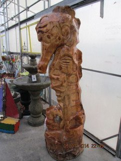 Von Nicholson: 'Golden Seahorse', 2014 Wood Sculpture, Sea Life. Artist Description:   created from Knotty pine and sealed for all weather. about 6+ ft. tall  ...