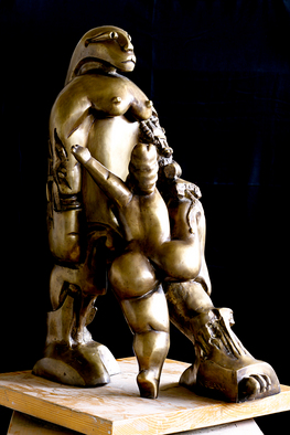 Bronze Sculpture by Catalin Geana titled: Encounter Alien Gods, 2012
