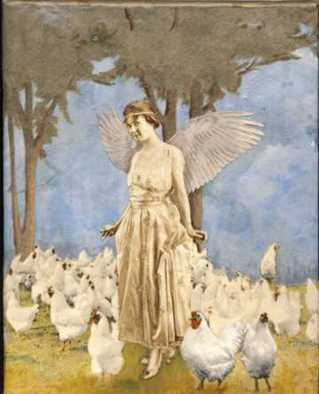 Collage by Cathy Horner titled: Guardian of Hens, created in 2008