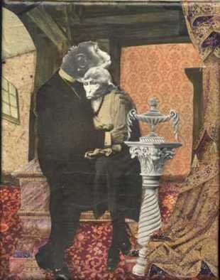 Collage by Cathy Horner titled: Simian Love, created in 2008
