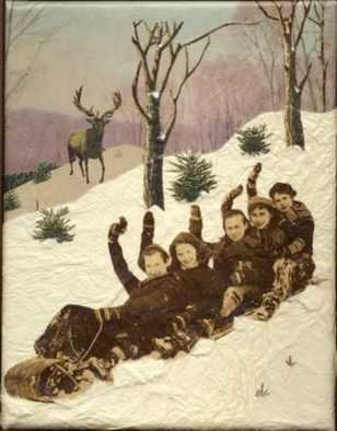 Cathy Horner: 'TobboganTobogganToboggan', 2008 Collage, Seasons.  Collage art using vintage papers and handmade papers.  ...