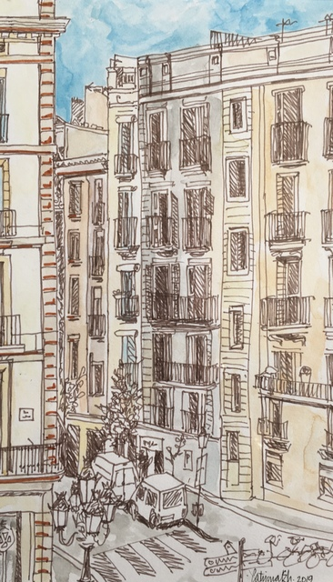 Catriona Brough  'Barcelona', created in 2019, Original Painting Ink.