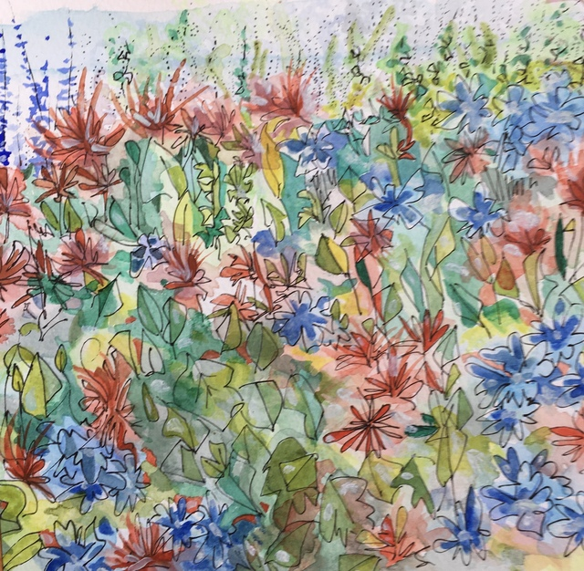 Catriona Brough  'Flowers In The Garden', created in 2019, Original Painting Ink.