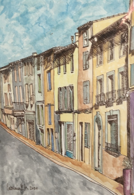 Catriona Brough  'Quillan Street', created in 2020, Original Painting Ink.
