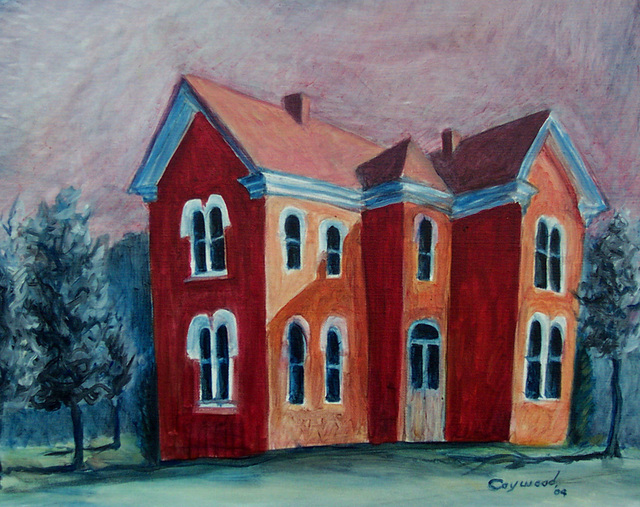 Artist David Caywood. 'Red House' Artwork Image, Created in 2004, Original Painting Oil. #art #artist
