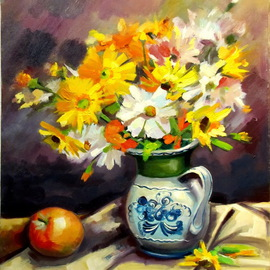 Calin Bogatean Artwork Apple and  flowers, 2011 Oil Painting, Floral