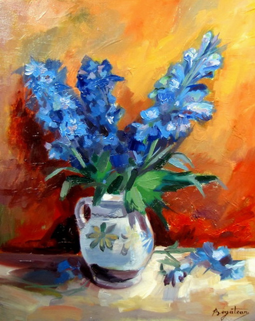 Calin Bogatean  'Cornflowers', created in 2011, Original Painting Oil.