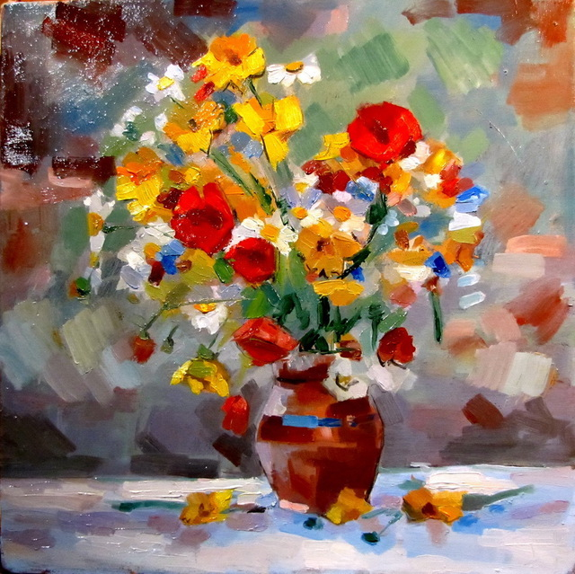 Calin Bogatean  'Flower', created in 2011, Original Painting Oil.
