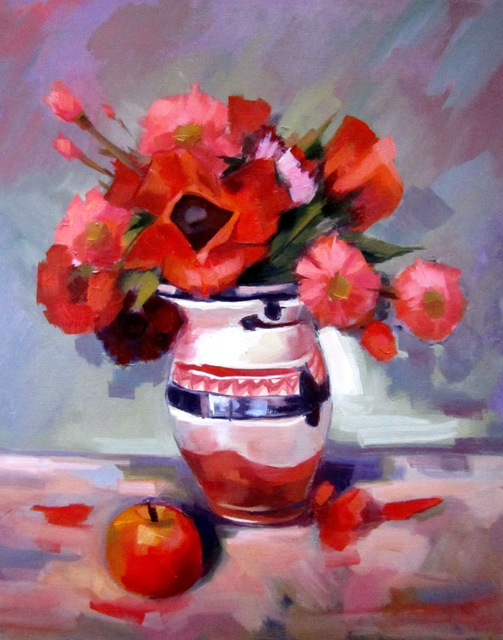 Calin Bogatean  'Flowers And Poppies', created in 2011, Original Painting Oil.