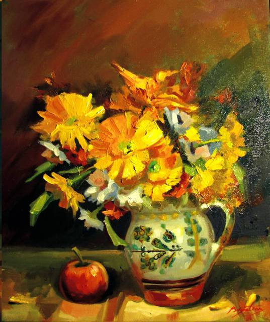 Calin Bogatean  'Yellow Flowers', created in 2011, Original Painting Oil.