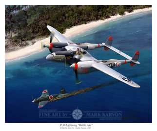 Mark Karvon Artwork P38 Lightning Battle Axe, 2007 Other Painting, Airplanes