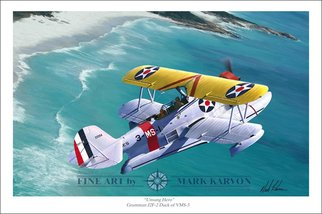 Mark Karvon: 'Unsung Hero Grumman J2F Duck', 2007 Other Painting, Airplanes.  Grumman J2F Duck World War II Aviation Art PrintWhat was the greatest airplane of WWII? Well if you were an downed airman and spent several days adrift at sea the answer might be the airplane that rescued you. The Grumman Duck was one such plane. This print shows a...