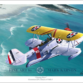Mark Karvon: 'Unsung Hero Grumman J2F Duck', 2007 Other Painting, Airplanes. Artist Description:  Grumman J2F Duck World War II Aviation Art PrintWhat was the greatest airplane of WWII? Well if you were an downed airman and spent several days adrift at sea the answer might be the airplane that rescued you. The Grumman Duck was one such plane. This print ...