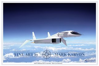 Mark Karvon: 'XB70 Valkyrie Mach 3 at 70000 Feet', 2006 Other Painting, Airplanes.  North American XB- 70 Valkyrie Bomber Aviation Art Print.Designed and constructed during the Cold War, the Valkyrie first flew in 1964. The United States issued a requirement for a heavy bomber capable of cruising at Mach 3 with range enough to reach the USSR to deliver a nuclear weapon...