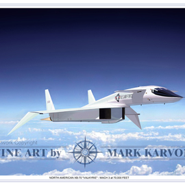 Mark Karvon: 'XB70 Valkyrie Mach 3 at 70000 Feet', 2006 Other Painting, Airplanes. Artist Description:  North American XB- 70 Valkyrie Bomber Aviation Art Print.Designed and constructed during the Cold War, the Valkyrie first flew in 1964. The United States issued a requirement for a heavy bomber capable of cruising at Mach 3 with range enough to reach the USSR to deliver a ...