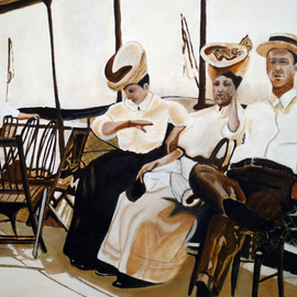 Craig Cantrell Artwork A  casual  day on the steam ship Tashmoo, 2009 Acrylic Painting, Boating