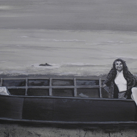 Craig Cantrell: 'Grandma at the Beach', 2009 Acrylic Painting, Boating. Artist Description: original oil painting $300. 00Canvas Print $150. 00Photo Print size 18 x 24 $50. 00 Black and White, Women, art, Painting, lake, ship, boat, fishing   ...