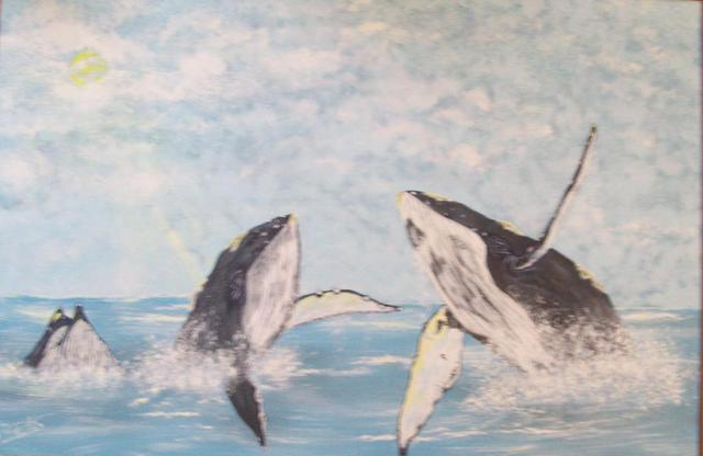 Craig Cantrell  'Hump Back Whales', created in 1996, Original Painting Acrylic.