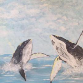 Craig Cantrell: 'Hump back Whales', 1996 Acrylic Painting, Sea Life. Artist Description:     Seascape, sealife, painting, art, Nature  ...