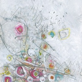 Christine Alfery Artwork Gruit Salad On The Fourth Of July Picnic Table, 2010 Other Painting, Abstract Landscape