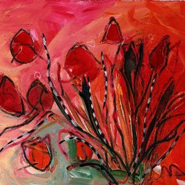 Christine Alfery Artwork Red Tulops, 2009 Acrylic Painting, Floral
