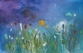 Artist: Christine Alfery - Title: Starry Nite Walk - Medium: Acrylic Painting - Year: 2010